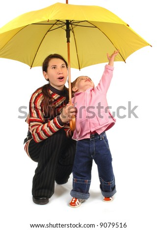 Daughter and mother with yellow umbrella