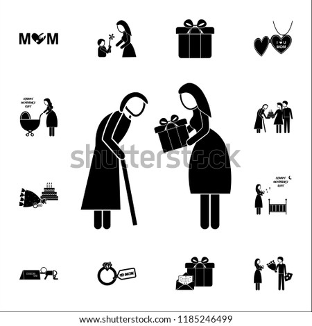 daughter gives a gift to an adult mother  icon. Mother's Day icons universal set for web and mobile