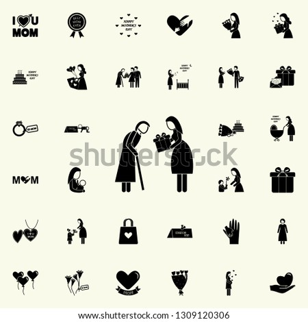 daughter gives a gift to an adult mother icon. Mother's Day icons universal set for web and mobile on white background