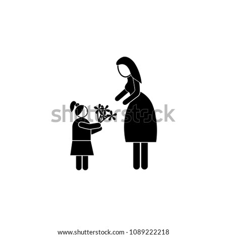 daughter gives flowers to her mother icon. Element of mother day for mobile concept and web apps. Detailed daughter gives flowers to her mother icon can be used for web and mobile on white background