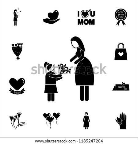 daughter gives flowers to her mother  icon. Mother's Day icons universal set for web and mobile