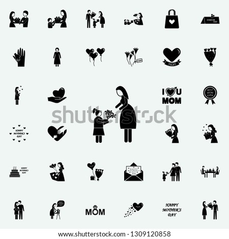 daughter gives flowers to her mother icon. Mother's Day icons universal set for web and mobile on white background