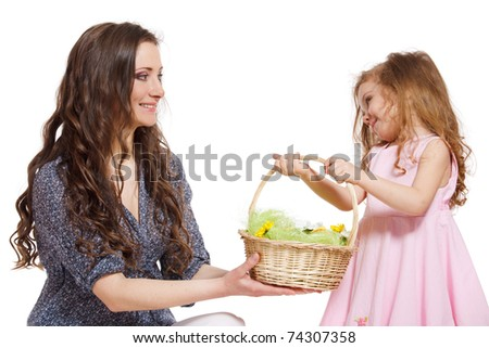 Daughter giving Easter basket to her mom