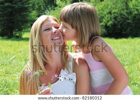daughter kiss mom