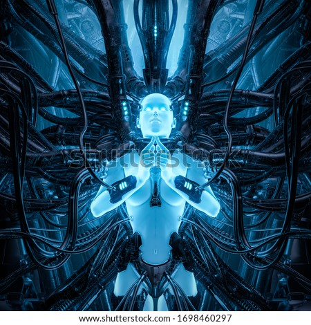 Daughter of light / 3D illustration of science fiction glowing meditating female android hardwired to complex alien machinery