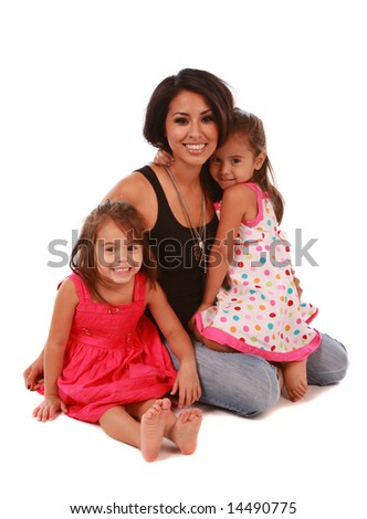 Daughters and mom on white background