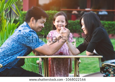 Daughters settled the match between father and mother.Family problem Concept. #1068022166