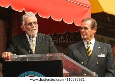 David Hedison and Roger Moore  at the ceremony honoring Roger Moore with the 2,350th Star on the Hollywood Walk of Fame. Hollywood Boulevard, Hollywood, CA. 10-11-07