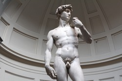 David is a masterpiece of Renaissance sculpture created in marble by Michelangelo