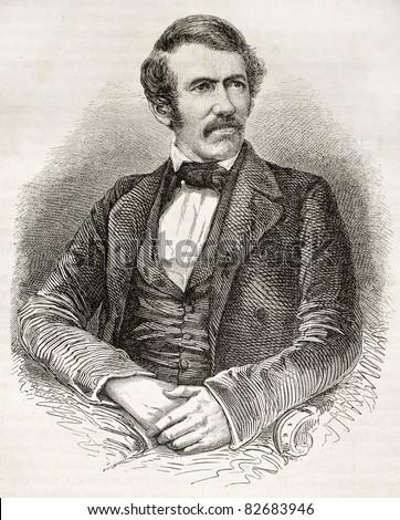 David Livingston old engraved portrait. Created by Fath, Pannemaker and Ligny, published on Le Tour du Monde, Paris, 1860
