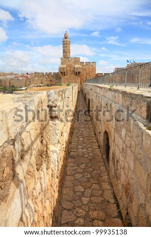 David's tower (citadel) - the old city of Jerusalem and view of the new Jerusalem