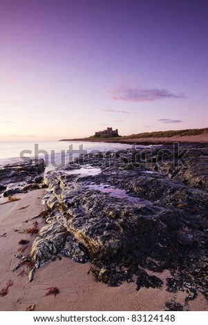 Dawn at Bamburgh Castle beach, Northumberland, England