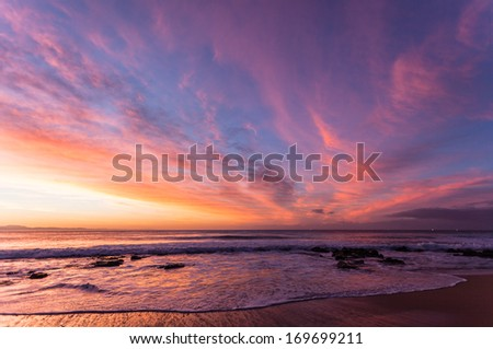 dawn beach sky rainbow colors morning dawn with light