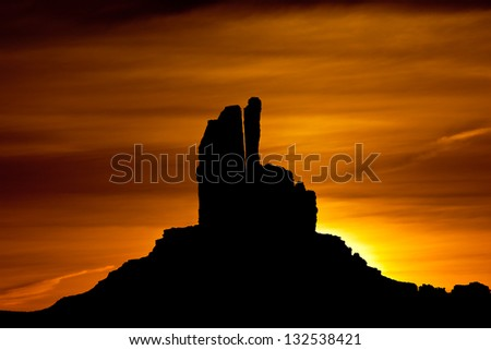 Dawn behind Rabbit Butte, Monument Valley, Arizona