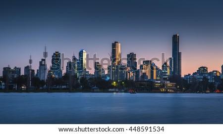 Dawn clear sky city skyline Melbourne lake park