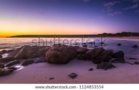 Dawn clear summer morning Bunker bay beach sunny west coast west Australia coastal Cape Naturaliste Margaret river #1124853554