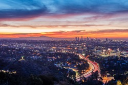 Dawn from the Hollywood Bowl Overlook in Los Angeles, California