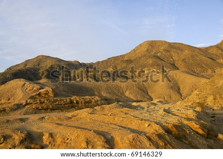 dawn in a mountainous desert