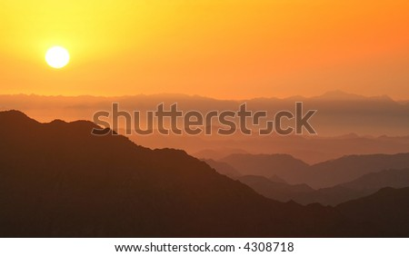 Dawn in mountains. Ideally for your use
