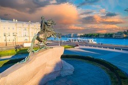 Dawn in Saint-Petersburg. Monument to Peter the Great against beautiful sky. Bronze Horseman. Monuments Of Saint Petersburg. View of the Neva river. Morning in the city. Sights of St. Petersburg.