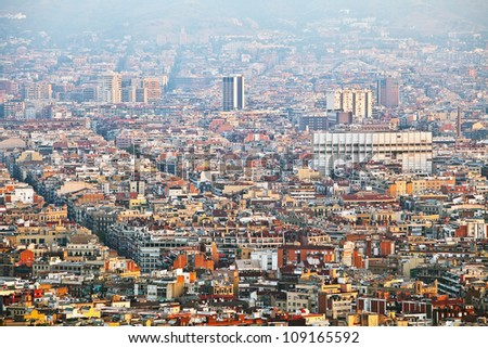 Dawn in the City - The view of the apartment buildings downtown (Barcelona city, Spain, Europe)