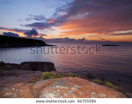 Dawn Is About To Burst Over The Seacoast At Acadia National Park, Maine, USA
