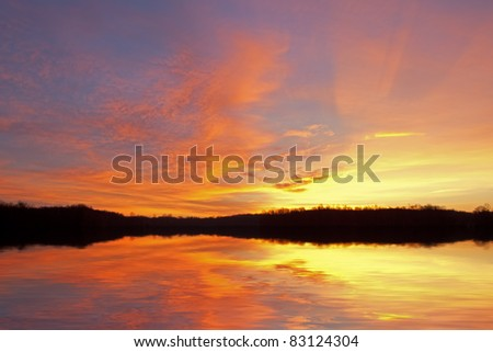 Dawn landscape of Jackson Hole Lake, Fort Custer State Park, Michigan, USA