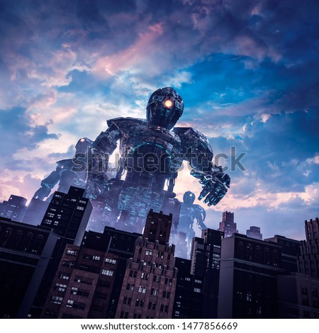 Dawn of the giants / 3D illustration of retro science fiction scene with huge alien robots attacking city