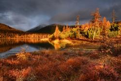 Dawn on lake Jack London, Kolyma, Magadan region, Russia