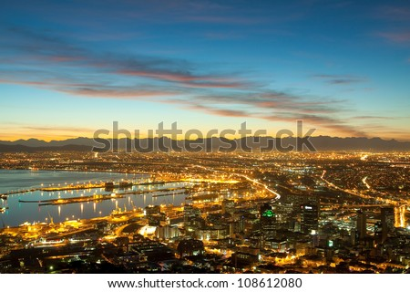 Dawn on the coast of Cape Town city (South Africa) #108612080