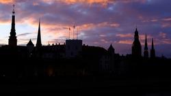 Dawn over the castle in old Riga