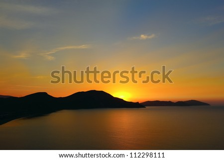 Dawn over the hills of Koktebel, Crimea