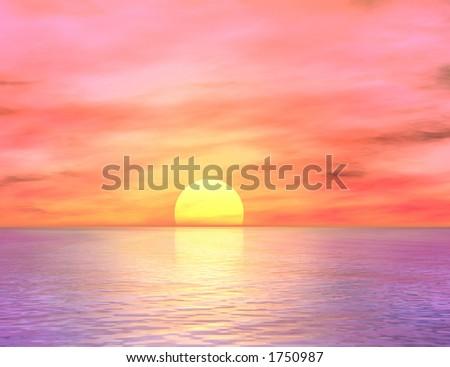 Dawn over the ocean - stock photo