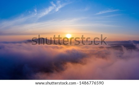 Dawn over the sea and mountains in the Primorsky Territory, Russia