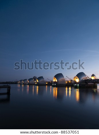 Dawn over the Thames Barrier