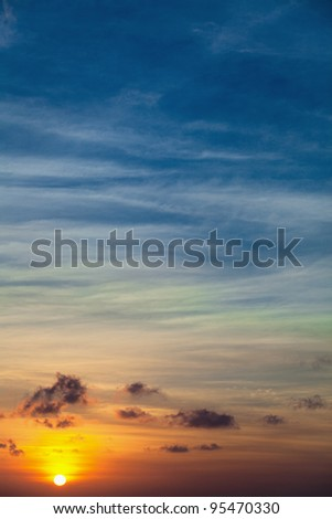 Dawn over the tropical ocean - the vertical background