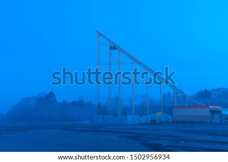 Dawn sky and roller coaster rail #1502956934