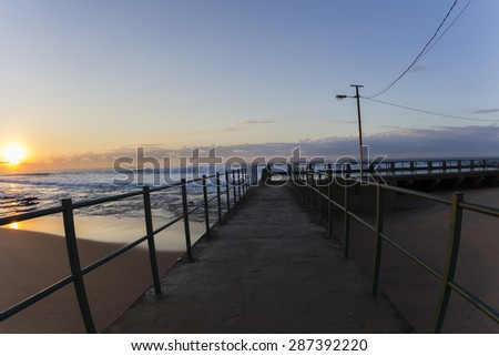 Dawn sunrise ocean waves tidal pool landscape season colors #287392220