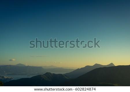 Dawn, view of Ma On Shan, Fei Ngo Shan, Hong Kong Stok fotoğraf ©