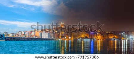Day and Night Concept - Galata Tower, Galata Bridge, Karakoy district and Golden Horn at morning, istanbul - Turkey #791957386