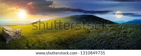 day and night time change concept above panorama of grassy hill with rock. beautiful summer landscape with sun and moon. amazing nature scenery. dramatic cloudy sky