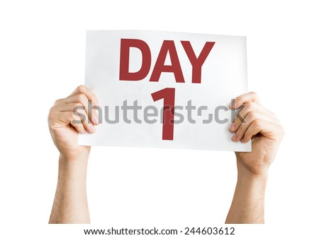 Day 1 card isolated on white background