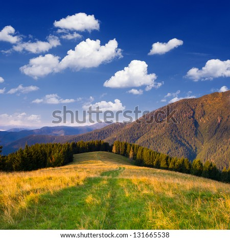 Day landscape in the mountains in good weather