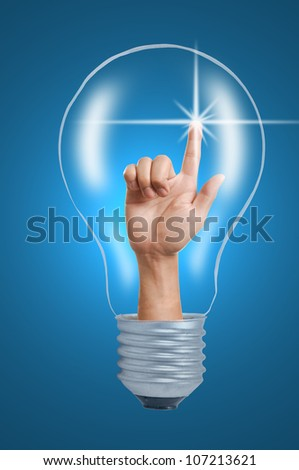 Day Light Tungsten ,Bulb light with hand touching
