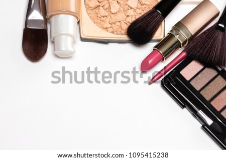 Day makeup set. Beauty products for natural make-up on white table, copy space