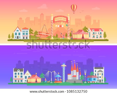 Day, night amusement park - set of modern flat illustrations on urban background. Two variants of funfair. Lovely cityscape with attractions, chapiteau, houses, people