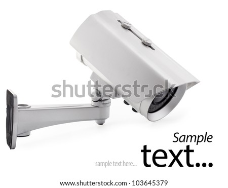 Day & Night Color wireless surveillance camera isolated on white background, with clipping paths (with sample text)