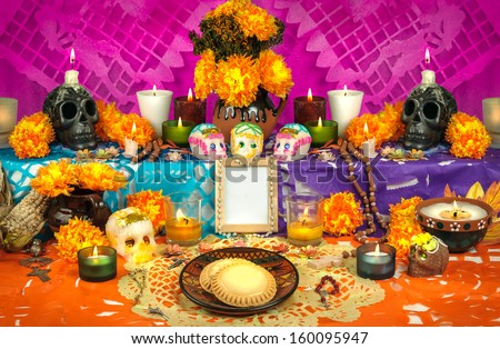 Shutterstock Day of the dead altar with sugar skulls