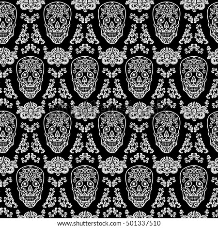 Day Of The Dead And Mexican Dia Los Muertos Background Black Lace Sugar Skull Seamless