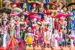 Day of the Dead (Día de Muertos) souvenirs for sale in Mexico City, Mexico.